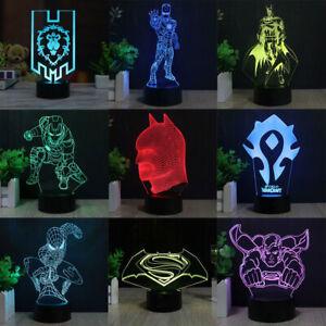 Spiderman Super Held Iron WOW   3D LED Tischlampe Leselampe Nachtlicht  Geschenk