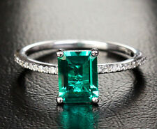 6x8mm Emerald Pave VS/H Diamonds Real 14K White Gold Engagement Wedding Ring 7#