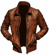 New Mens Leather Jacket Biker Motorcycle Vintage Distressed Brown Bomber Antique