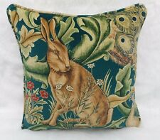 "William Morris Stoff Kissenbezug ""Wald"" Azur - Samt - Hase - 45.7cm"