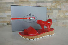 PRADA Gr 37 Sandalen Sandals 3X6019 Lack Schuhe Klett Kork rot NEU UVP 390 €