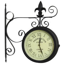 Black Paddington Double Sided Faced Metal Garden Outdoor Wall Clock Numerals