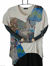 Gr.M Sarah Santos Shirt Kurzarmshirt leicht luftig Beige florales Design