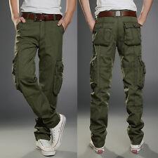 Mens Popular Cotton Cargo Military Slim Fit Combat Camo Work Trousers Long Pant