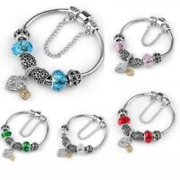 Silver Plated Charm Bracelet For Women Crystal Love Charms Bangle Gifts Jewelry