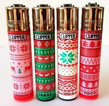4 Festive CLIPPER Lighters! Rare Collectable Christmas Print Gift Set x4 pcs