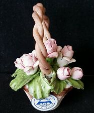 Capodimonte Miniature Porcelain Vintage Stevelyn Flower Bouquet Basket Pink NEW