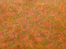 3 YARDS OF VINTAGE PEACH AND GREEN PAISLEY PRINT COTTON FABRIC