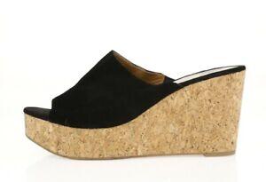 Womens DOLCE VITA Black Suede Casual Slip On Wedge Heels Slides Sandals Size 10