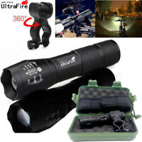 Ultrafire Flashlight 50000LM LED T6 Torch Zoomable Tactical 18650 Lamp+Holder -H