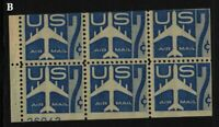 1958 Airmail Sc C51a booklet pane MNH fresh 35% plate number 26042 B