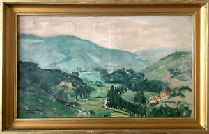 Tableau Ancien signé Maurice Désiré Lucas / paysage de montagne, vallées Ca 1940
