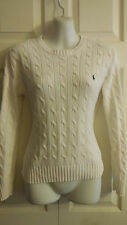 RALPH LAUREN GOLF CABLE KNIT WHITE  COTTON SWEATER S