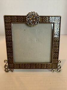Sunflower Designs 4 x 4 Picture Photo Frame Metal Enamel Gold and Rhinestones