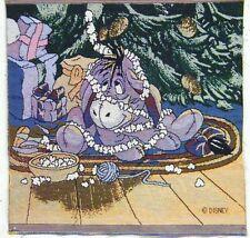 2 ea - Disney Eeyore Christmas Tapestries Holiday Panels Fabric Vintage New
