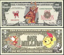 Reindeer Merry Christmas Million Dollars $ USA Play Money Bill Novelty Not Real
