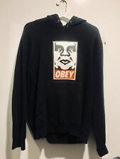 OBEY CLASSIC PHOTO PRINTED HOODIE BLACK SIZE SMALL