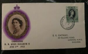 1953 Cross Road Jamaica QE 2 Coronation First Day Cover Queen Elizabeth FDC