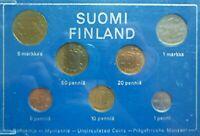 1975 FINLAND - OFFICIAL MINT UNC SET (7) - PENNIA & MARKKA - SUOMI FINNISH MINT
