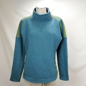 Marmot Wool Blend Tunic Pullover Sweater Womens Large Teal Blue Button Vivian