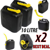 2x 10 L BLACK PLASTIC JERRY CAN DIESEL PETROL FUEL OIL WATER CANISTER + 2x Spout