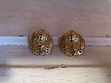 Gold Patterned Clip On Earrings