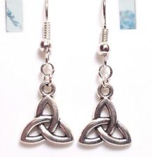 CELTIC KNOT_Charm Earrings Silver Plated Hooks_Triquetra Irish Trinity Pagan_16E