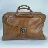 Vtg American Tourister Brown Faux Leather Carry On Duffel Bag Luggage No Key