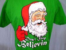 Santa Saying Don't Stop Believin' Green XL T-Shirt Cotton