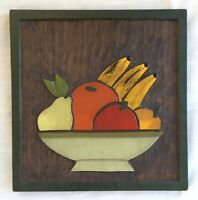 Vintage Hand Carved & Painted Bas Relief Wood Wall Plaque 1970 Mexico Fruit Bowl