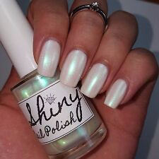 WHITE PEARL IRIDESCENT TURQUOISE DUO Shiny Nail Polish Indie 5-free Handmade