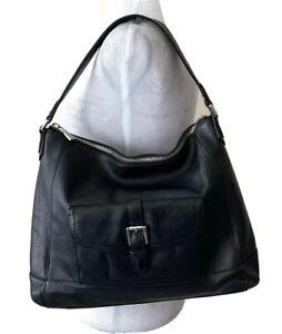 Coach Charlie Hobo Handbag Black Leather Purse Shoulder Bag Purse Front Pocket