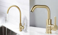 New Brushed Gold Kitchen Bathroom Faucet Single Hole Sink Basin Mixer Brass Tap