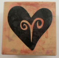 Psx E-1902 1996 Bold Whimsical Heart Love Wedding Romantic Wooden Rubber Stamp