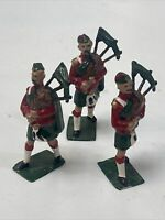 Vintage Lead Toy Soldiers Scottish Hand Painted 3 Lead Soldiers Bagpipes