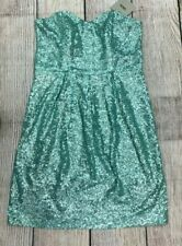 New ASOS Strapless Green Sequence Dress size 6 Black Linen Zip Up The Back