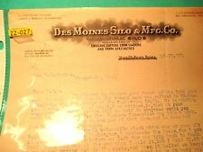 1913 DesMoines Iowa Silo & MFG CO Corn Loaders & Cutters BILL HEAD MAKE OFFER