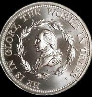 George Washington Funeral Medal 2 oz .999 silver skull & crossbones free mason
