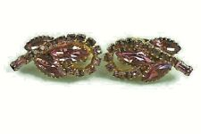 Vintage Jewelry Ear Rings Clip on Pink Rhine Stone Glass Fabulous