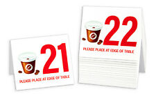 """Plastic Table Numbers 21-40 """"Coffee Cup & Beans"""" Tent Style, Free shipping"""