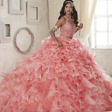 Two Pieces 2017 Quinceanera Dresses Beaded Ruffles Prom Party Wedding Ball Gowns