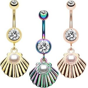 Rose Gold Ariel's Shell Dangle Belly Button Ring Rainbow Clear Navel CZ Dangle