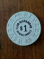 vintage 60's casino chip, VERY RARE Club Alexander Athens Greece Nevada.