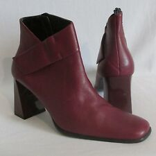 New Women's Milagros Berry Red Leather Ankle Boots Heels Shoes size 9M