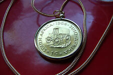 "1964 South Africa CONESTOGA Wagon Coin Pendant 28"" Gold Filled Foxtail Chain"