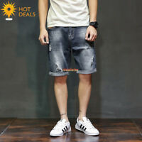 New Men's Cotton Denim Shorts Distressed Ripped Short Jeans Loose Pants Summer