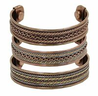 Arthritis Joint Pain Cuff Bracelet Pain Relief Copper Magnetic Lot of 3 Pieces