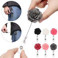 Retractable Lanyards Stationery Badges Holder Rose Shape Badge Reel Key Ring