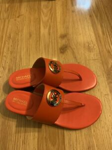Michael Kors Womens Leather Thong Sandals Color Mandarin Size 6 to 10