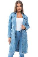 Women's Juniors Premium Denim Long Sleeve Long Jacket
